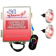 Kit 2 Tiny Led Piscina Inox 316 RGB 10W + Central + Controle