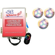 Kit 3 Led Piscina RGB 12W Inox Divina Lux + Central + Controle