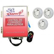 Kit 3 Led Piscina RGB 4W + Central + Controle Touch - Luxpool