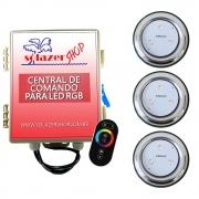 Kit 3 Refletor LED Piscina RGB 9W Inox + Central Touch