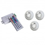 Kit 3 Refletor Led Piscina RGB 9W Luxpool + Central compacta