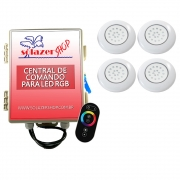 Kit 4 LED Piscina ABS RGB 18W + Central + Controle Touch
