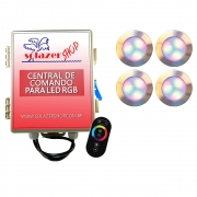 Kit 4 Led Piscina RGB 12W Inox Divina Lux + Central + Controle