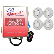 Kit 4 Led Piscina RGB 4W + Central + Controle Touch - Luxpool