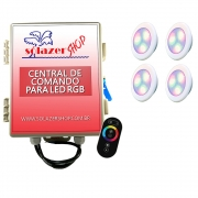 Kit 4 Led Piscina RGB 6W ABS Divina Lux + Central + Controle