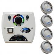 Kit 4 LED Piscina RGB COB Colorido + Central Wifi Sodramar