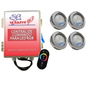 Kit 4 Led Piscina RGB COB Colorido Sodramar + Central Touch