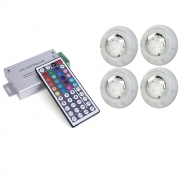Kit 4 Refletor Led Piscina RGB 4W Luxpool + Central compacta