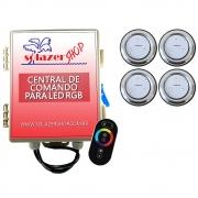 Kit 4 Refletor LED Piscina RGB 9W Inox + Central Touch