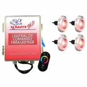 Kit 4 Tiny Led Piscina Inox 316 RGB 10W + Central + Controle