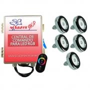 Kit 5 Led Piscina Inox RGB 6W + Central + Controle - Tholz