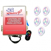 Kit 5 Led Piscina RGB 6W ABS Divina Lux + Central + Controle