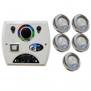 Kit 5 LED Piscina RGB COB Colorido + Central Wifi Sodramar