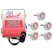 Kit 5 Led Piscina RGB Colorido + Central + Touch - Light Tech