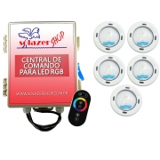 Kit 5 Led Piscina RGB Colorido COB Sodramar + Central Touch