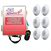 Kit 6 Led Piscina RGB 9W ABS Divina Lux + Central + Controle