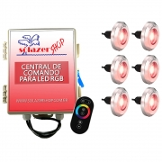 Kit 6 Tiny Led Piscina Inox 316 RGB 20W + Central + Controle
