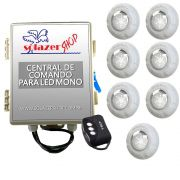 Kit 7 Led Piscina Monocromático 9W + Central + Controle - Luxpool