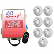 Kit 7 Led Piscina RGB 9W + Central + Controle Touch - Luxpool