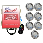 Kit 7 Led Piscina RGB COB Colorido Sodramar + Central Touch