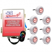 Kit 7 Led Piscina RGB Colorido + Central + Touch - Light Tech