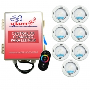 Kit 7 Led Piscina RGB Colorido COB Sodramar + Central Touch