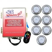 Kit 7 Refletor LED Piscina RGB 9W Inox + Central Touch