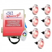 Kit 7 Tiny Led Piscina Inox 316 RGB 10W + Central + Controle