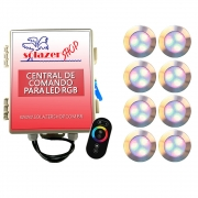 Kit 8 Led Piscina RGB 12W Inox Divina Lux + Central + Controle