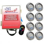 Kit 8 Led Piscina RGB COB Colorido Sodramar + Central Touch