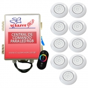Kit 9 LED Piscina ABS RGB 18W + Central + Controle Touch