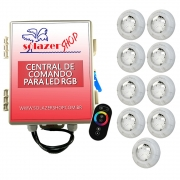 Kit 9 Led Piscina RGB 4W + Central + Controle Touch - Luxpool