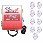Kit 9 Led Piscina RGB 6W ABS Divina Lux + Central + Controle