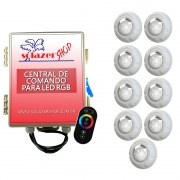 Kit 9 Led Piscina RGB 9W + Central + Controle Touch - Luxpool