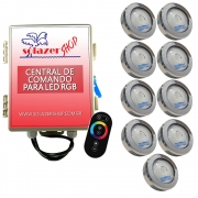 Kit 9 Led Piscina RGB COB Colorido Sodramar + Central Touch
