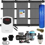 Kit Aquecedor Solar Piscina 80m² + Capa + Motor 1/2 CV - CMB Aqua