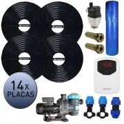 Kit Aquecedor Solar Piscina Girassol 56.000 L + Bomba + Capa