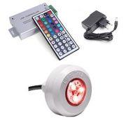 Iluminação Piscina - 1 Led RGB colorido + Central Compacta