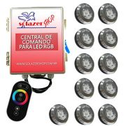 Kit 11 Tiny Led Piscina Inox RGB + Central + Controle Touch