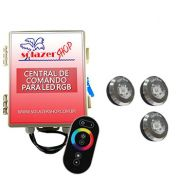 Kit 3 Tiny Led Piscina Inox RGB + Central + Controle Touch