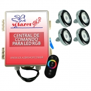 Led Piscina - Kit 4 Tholz Inox RGB 18W + Central + Controle Touch