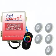 Kit 5 Led Piscina RGB 9W + Central + Controle Touch - Luxpool