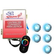 Led Piscina - Kit 5 Led Tholz 9W Inox RGB com Central e Controle Touch