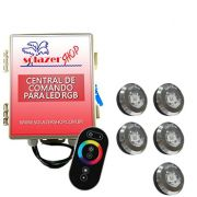 Kit 5 Tiny Led Piscina Inox RGB + Central + Controle Touch
