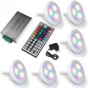 Led Piscina - Kit 6 Led RGB 9W ABS Divina Lux com Central Compacta