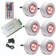Led Piscina - Kit 6 Led Tec Light ABS RGB com Central Compacta