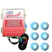 Led Piscina - Kit 6 Led Tholz 9W Inox RGB com Central e Controle Touch