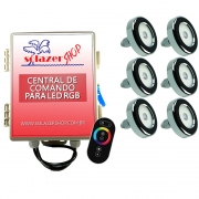 Led Piscina - Kit 6 Tholz Inox RGB 18W + Central + Controle Touch