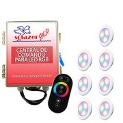 Kit 7 Led Piscina RGB 6W ABS Divina Lux + Central + Controle