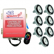 Led Piscina - Kit 7 Tholz Inox RGB 18W + Central + Controle Touch